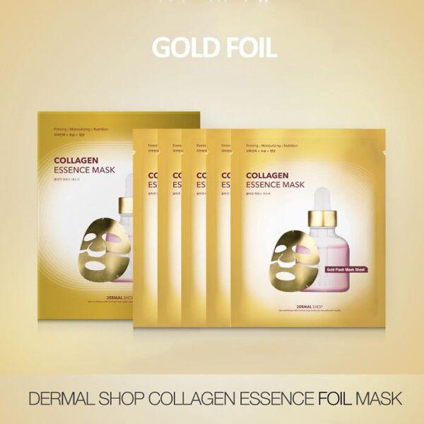 Dermal Shop Collagen Essence Gold Foil Face Mask- 1 Box (5 Sheets)