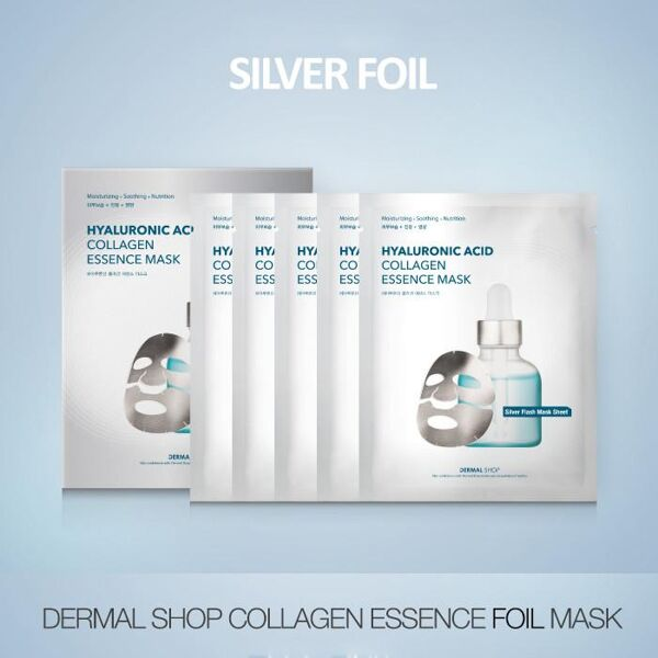 Dermal Shop Hyaluronic Acid Collagen Essence Silver Foil Mask 1 Box (5 Sheets)
