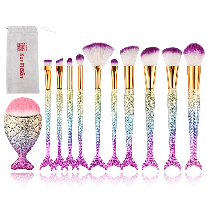 Mermaid Professional Makeup Brushes Set