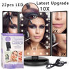 Professional 22 LED Lights Touch Screen Makeup Mirror Lamp Kit 2X 3X 10X Zoom